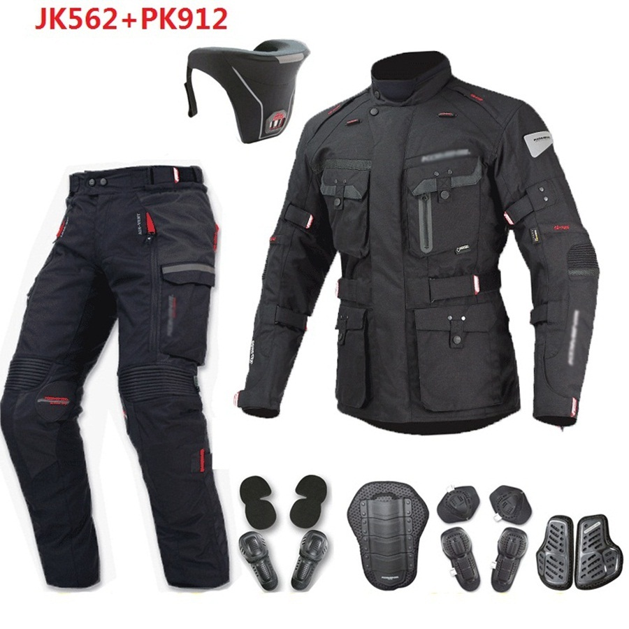 Livraison gratuite 1 set Motocross Veste Moto Coupe-Vent Imperméable Garder Au Chaud Hors route Vêtements Costumes Moto Moto Veste et pantalon