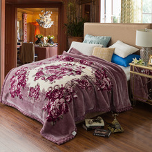 Super Soft Raschel Blanket Animal Cow Skin Flower Print Double Layer Queen King Size Double Bed Thick Warm Winter Mink Blankets цена