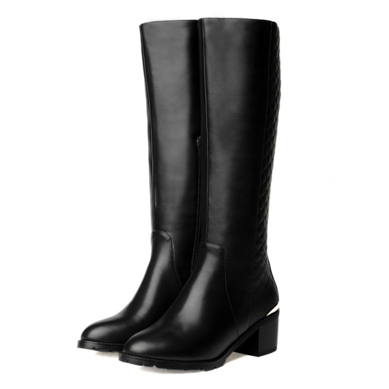 Free shipping 2017 winter Women's Full Grain Leather Knee High boots fashion riding boots for women EUR size:33-43 vpg wl1406 free shipping higher quality weight lifting knee sleeves for powerlifting crossfit knee pad for women and men