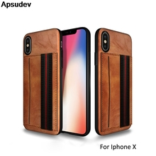 Apsudev Luxury PU Leather Phone Case For iPhone X XR XS XS Max 7 8 plus 6 6s plus Card slot Phone Case With Hand Strap Function цена в Москве и Питере
