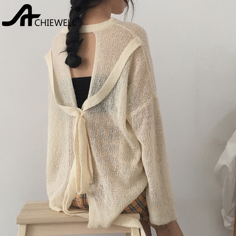 Achiewell Mohair Silk Sweater for Women Her Loose Jumper Long Sleeved Ethereal Sweater SHEER Top Transparent Soft Knit Gift