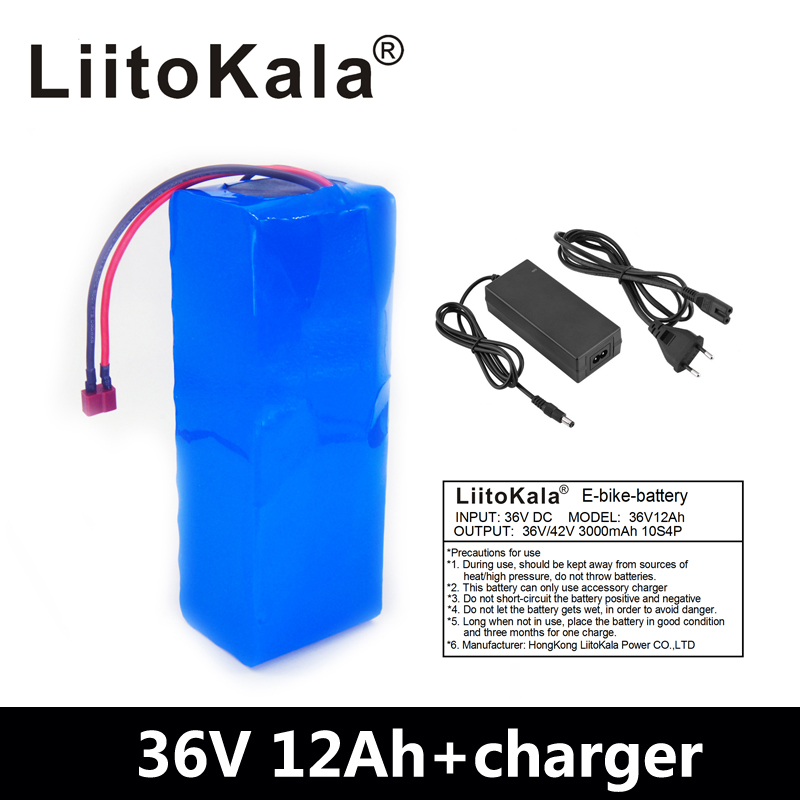 Liitokala 36 v 12ah bateria de bicicleta elétrica construída em 20a bms bateria de lítio 36 volts com 2a carga ebike bateria