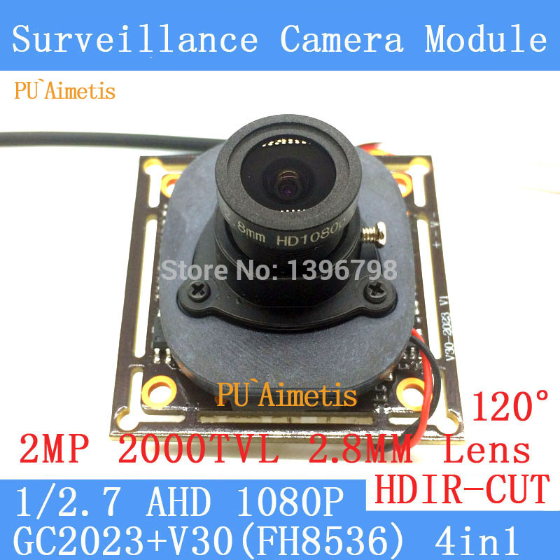 PU`Aimetis 2MP 1920*1080 AHD CCTV 1080P night vision Camera Module 1/2.7 2000TVL 2.8mm wide-angle 120degrees surveillance camera