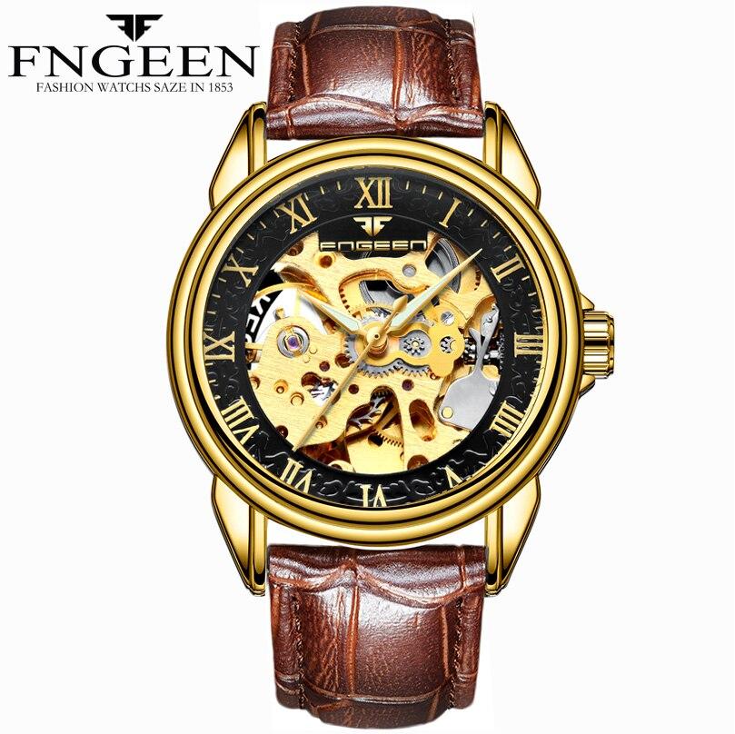 FNGEEN mode noir en cuir bande en acier inoxydable squelette montre mécanique pour homme or mécanique montre-bracelet marque de luxe