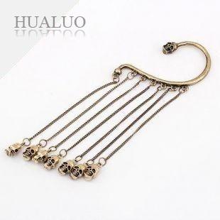 Jewelry!Korean Fashion Personality SKull Tassel Fringe Ear Cuff Earrings (Gold) E91