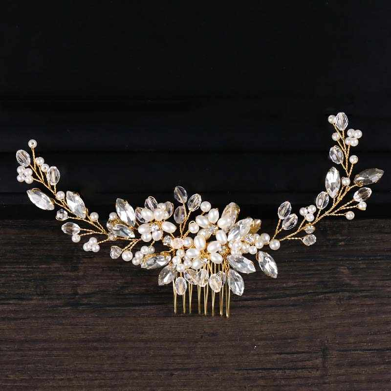 ACRDDK Gold Pearl Beads Headband Tiaras with Comb Crystal Rhinestone Hair Combs Jewelry Headpiece Bridal Wedding Accessories SL