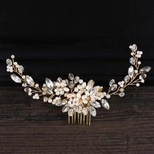 Oro Perle Perline Fascia Diademi con il Pettine di Cristallo Dei Capelli  Del Rhinestone Pettini Copricapo a462eaee60ce