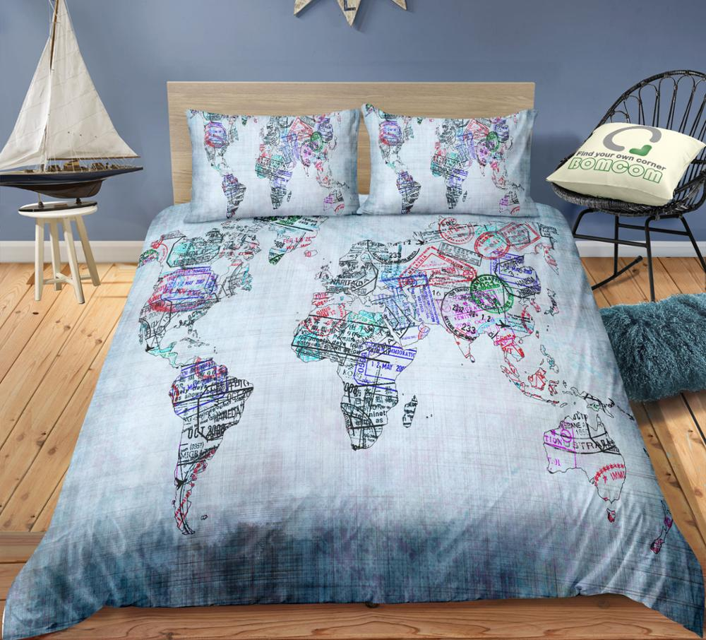 BOMCOM 3D Digital Printing map print Duvet cover set postmark map of the world Bedding Set