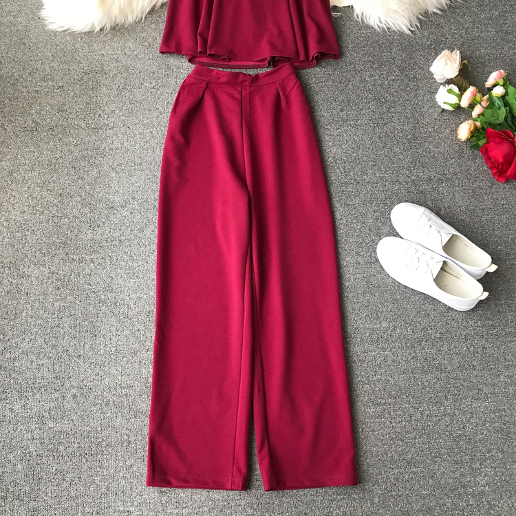 HTB14o7vVpzqK1RjSZFoq6zfcXXaV - two piece set women fashion sexy short top and long pants casual sleeveless Elastic high waist female summer festival clothing
