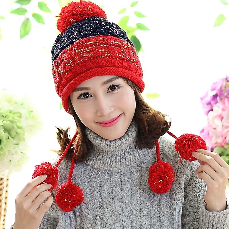 Cute Women Winter Ear Muff Warm Hat 100% Handmade Knitted Beanie Hat Ski Outdoor Cap