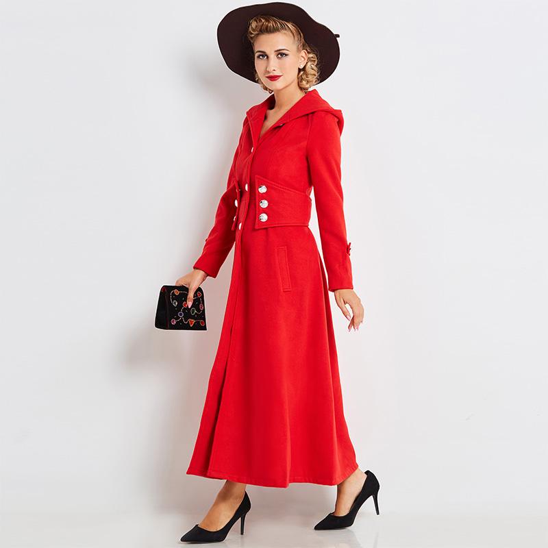 meet 3588a 6e7ef Frauen-langer Trenchcoat-roter moderner England-Beruf-Mantel-Winter-Herbst  mit Kapuze Outwear-Knopf A-Linie eleganter Retro- Maxi-Mantel