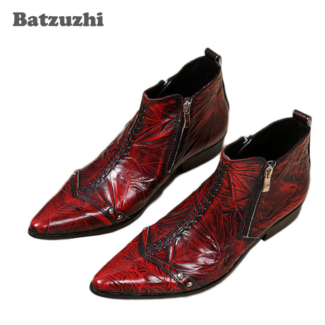 2873baeba42 Batzuzhi Italian Style Boots Men Fashion Red Dress Leather Boots Zip  Pointed Toe Red Leather Ankle Boots for Man Party/Wedding