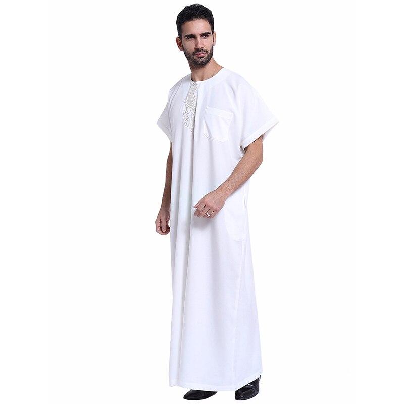 0eeee1a4fbc4 2018 Summer Muslim Men Thobe O Neck Short Sleeve Polyester Patchwork Saudi  Abaya Plus Size Arab Clothing Men Kaftan Dubai