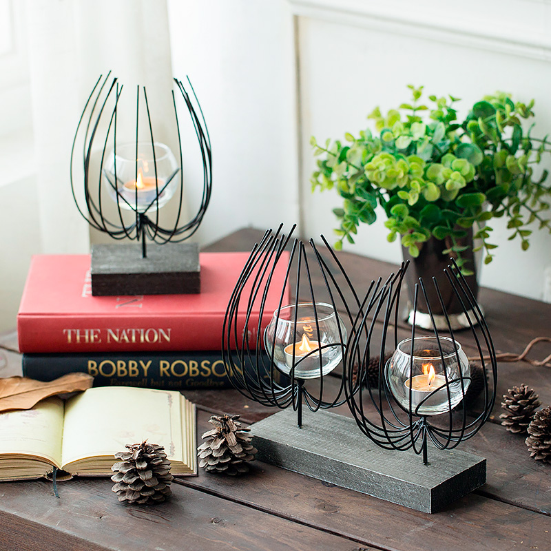 Home Decor Candle Holders And Accessories: Black Modern Metal Tealight Candle Holder Tabletop