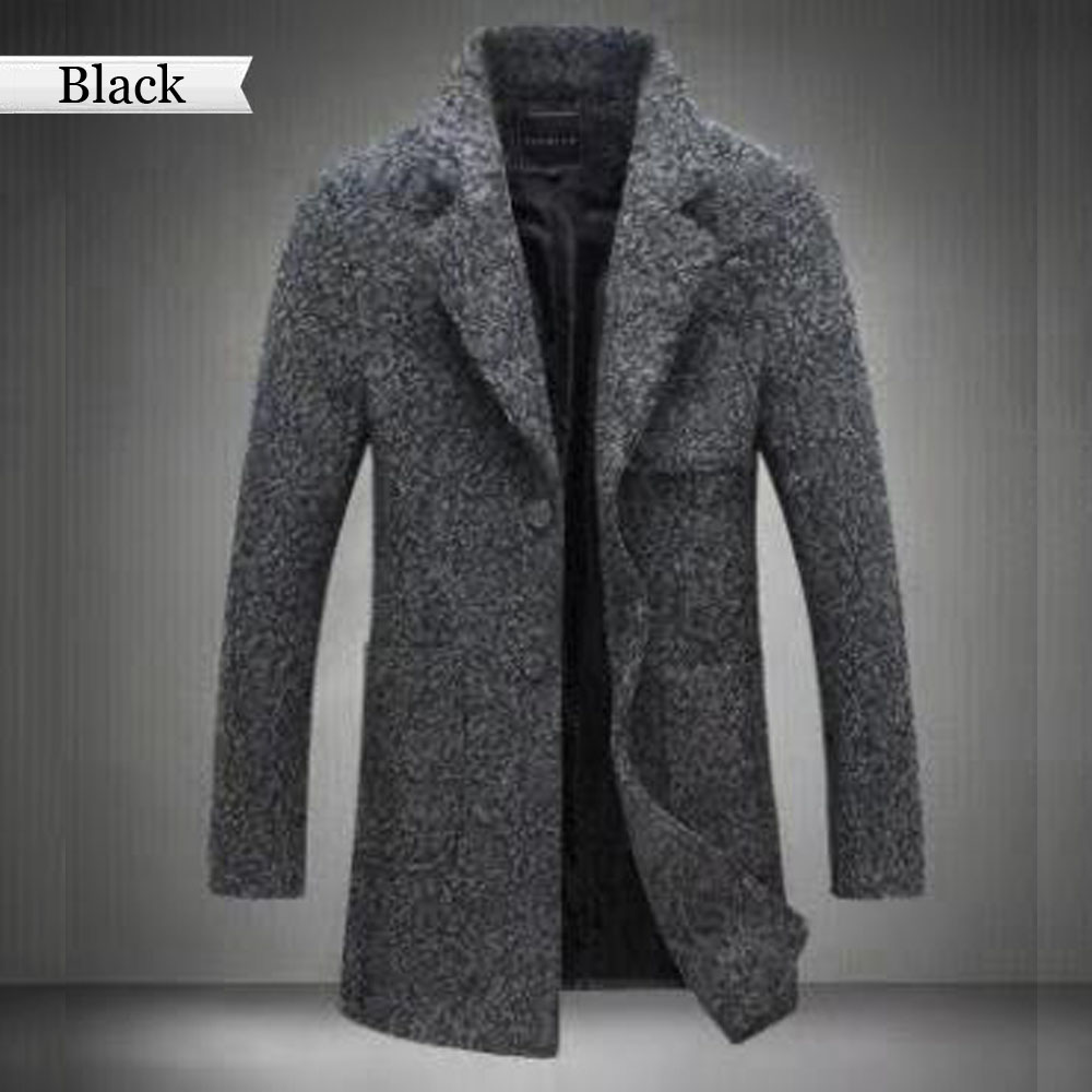 Overcoat Jacket Thicken Woollen Fashion Winter Plus-Size Male Long for Men New-Arrival