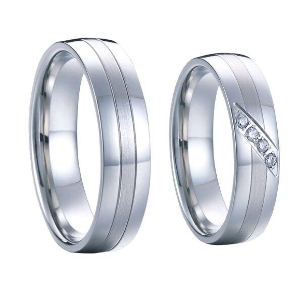 1 para high end handgemacht kunden silber weiß gold farbe hochzeit ringe sets für männer und frauen reine titanium stahl schmuck - 4