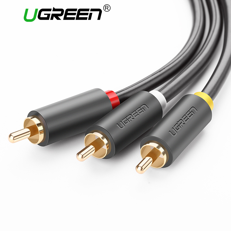 Ugreen 3RCA a 3 RCA macho a macho Cable de Audio chapado en oro Cable AV 3X enchufe RCA Video Cable 2 m 3 M 5 M para DVD VCD TV Blueplayer Vi