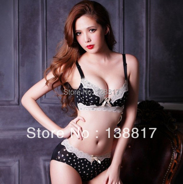 Free shipping 2017 new underwear bra B / C cup push up bar set leopard bow 4 adjustable breasted for women underwear suit 9256