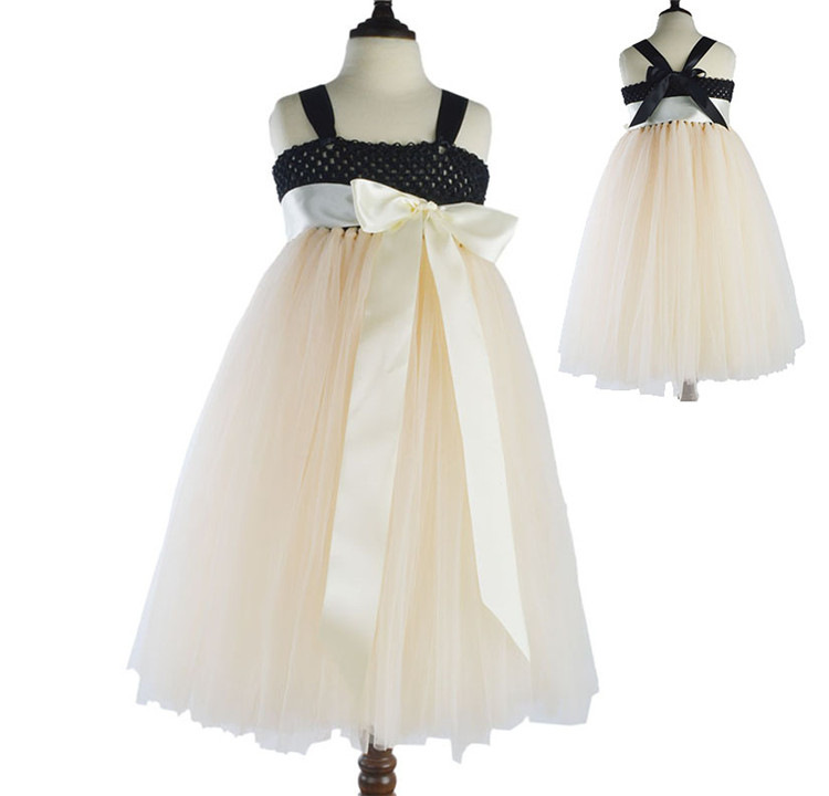 new baby girl summer party sleeveless patchwork beach wedding flower girl dresses long dress black and beige with tule summer 2017 new girl dress baby princess dresses flower girls dresses for party and wedding kids children clothing 4 6 8 10 year