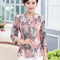 Camisa quinquagenário plus size outono feminino camisas blusas de meia idade mãe print floral de três quartos camisa de manga top