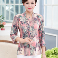 Quincuagenario más tamaño hembra otoño camisas blusas impresión floral de tres cuartos de la madre de mediana edad camisa de manga superior