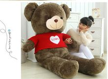 stuffed plush toy huge 150cm brown teddy bear with red sweater, loves bear doll soft hugging pillow christmas gift b0197