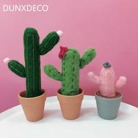 DUNXDECO Decoration Accessories Felt Miniature Cute Cactus Plant Pot Cosplay Simulation Desktop Display Kid Room Deco 3PCS Set