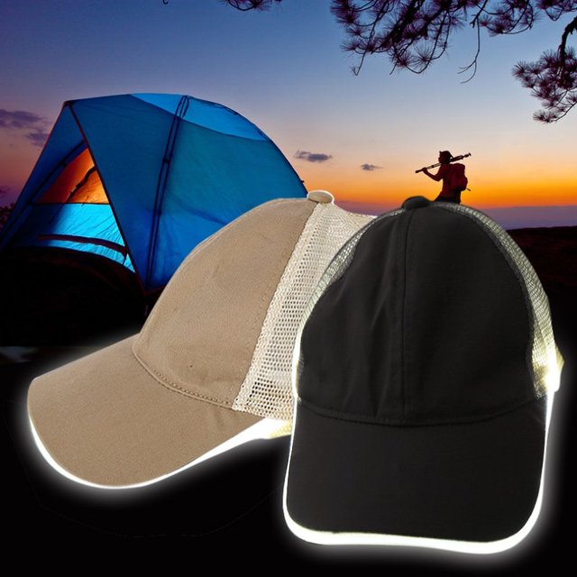 256222b502a Fashion Night LED Baseball Cap Hat Light Glow Club Party Black Fabric  Travel Hat Snapbacks Caps