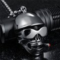 2016 New Punk Rock Men Skull Jewelry Stainless Steel Skeleton Pendant Chain Necklaces For Male Christmas Gift