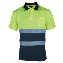 Two Tone Safety Polo Shirt Orange High Visibility Reflective Shirt With Pockets