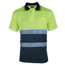 Zwei Ton Sicherheit Polo Hemd Orange Hohe Sichtbarkeit Reflektierende Hemd Mit Taschen