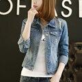5XL Mulheres Casaco Primavera Outono Básico Short Slim Buraco calças de Brim Jaquetas Feminino Único Breasted Bolsos roupas Jaqueta jeans mulheres 1078