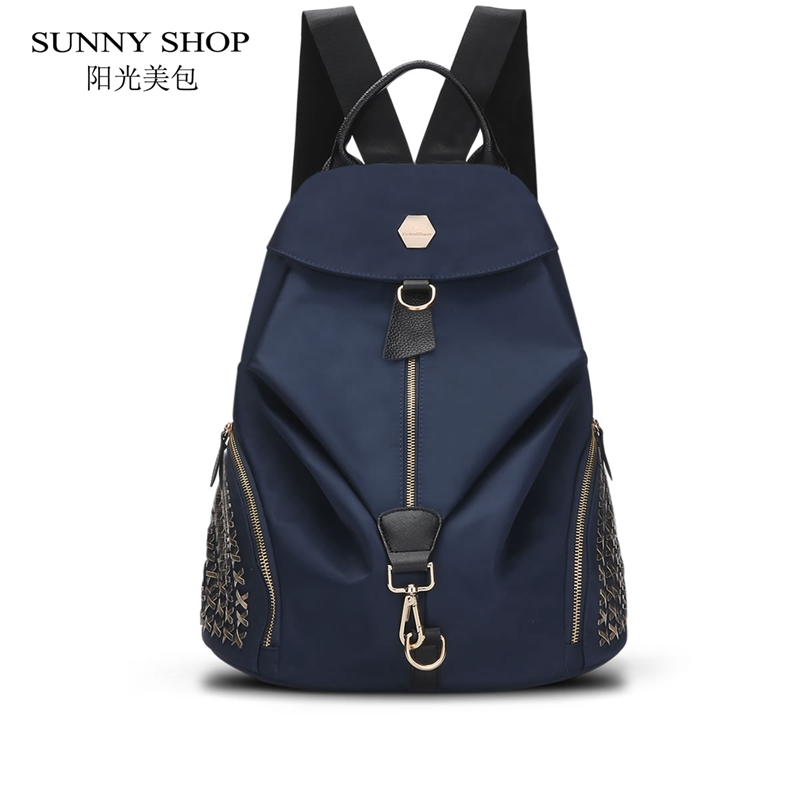 SUNNY SHOP 2017 New Oxford Waterproof Backpack Casual Fashion Rivets School Bags Casual Backpack For Women