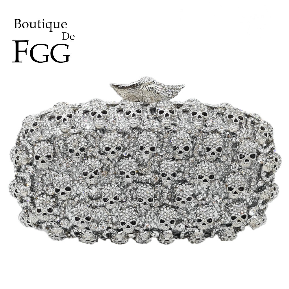 Boutique De FGG Diamond Skull Clutch Women Evening Bags Ladies Crystal Handbags and Purses Wedding Gala
