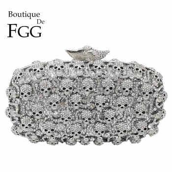 Boutique De FGG Diamond Skull Clutch Women Evening Bags Ladies Crystal Handbags and Purses Wedding Gala Dinner Minaudiere Bag - DISCOUNT ITEM  44% OFF All Category