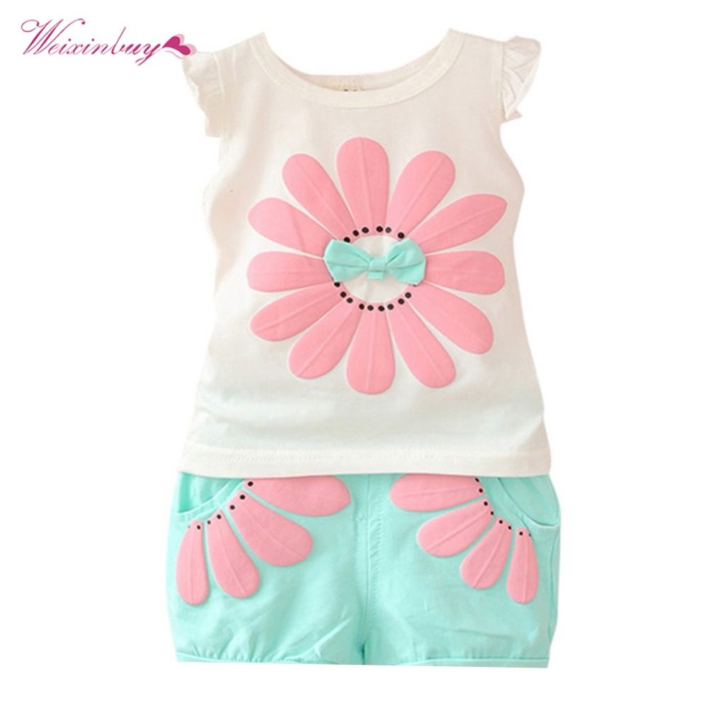 Toddler Baby Girls Clothes Summer Clothing Sets Bow Sunflower Vest Shirt + Shorts Kids Outfits 1-4Y 2018 baby girls summer lace clothing set 4 6 8 10 12 years kids tops vest t shirt with bow shorts kids girl outfit clothes sets