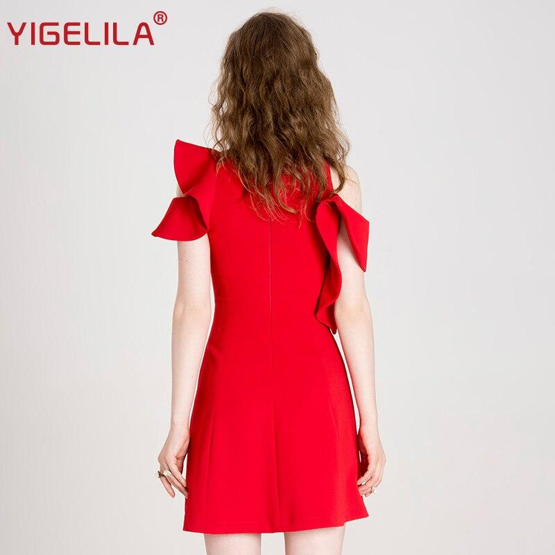 YIGELILA 2019 Neueste Frauen Rot Rüschen Kleid Mode Oansatz Schmetterling Hülse Reich Dünne A line Knie länge Kleid 63116-in Kleider aus Damenbekleidung bei  Gruppe 3