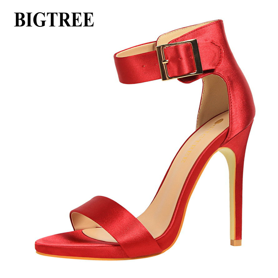 BIGTREENew Summer Pumps Female Sexy High Heels Shoes Thin Heeled Shiny Sequins Buckle Ankle Strap Sandals Beling Pumps female summer european style stitching sequins pointed personality gradient color with ultra thin high heeled shoes