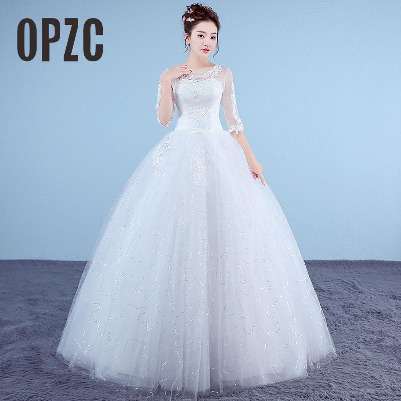 Customized White Princess Simple Wedding Dresses 2017 Lace Half Sleeve  O-Neck Bridal Gown Floor 1689ce5c0baa