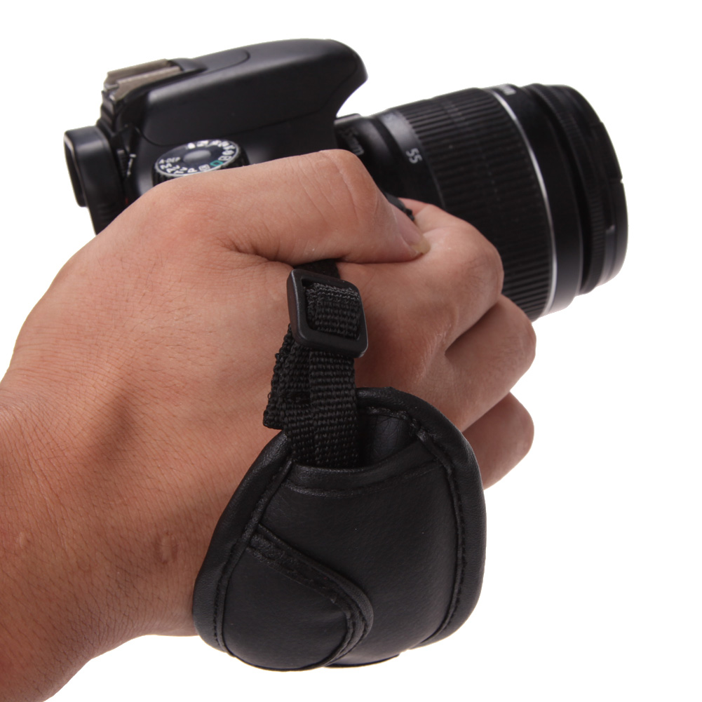 Hot Black Hand Grip Camera Strap PU Leather Hand Strap For Dslr Camera for Sony Olympus Nikon Canon EOS D800 D7000 D5100 D3200