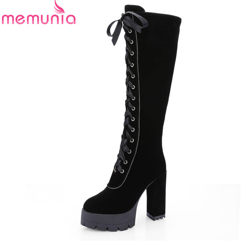 MEMUNIA 2018 new arrive flock knee high boots women lace up round toe platform boots square high heels shoes woman autumn boots enmayer high heels charms shoes woman classic black shoes round toe platform zippers knee high boots for women motorcycle boots