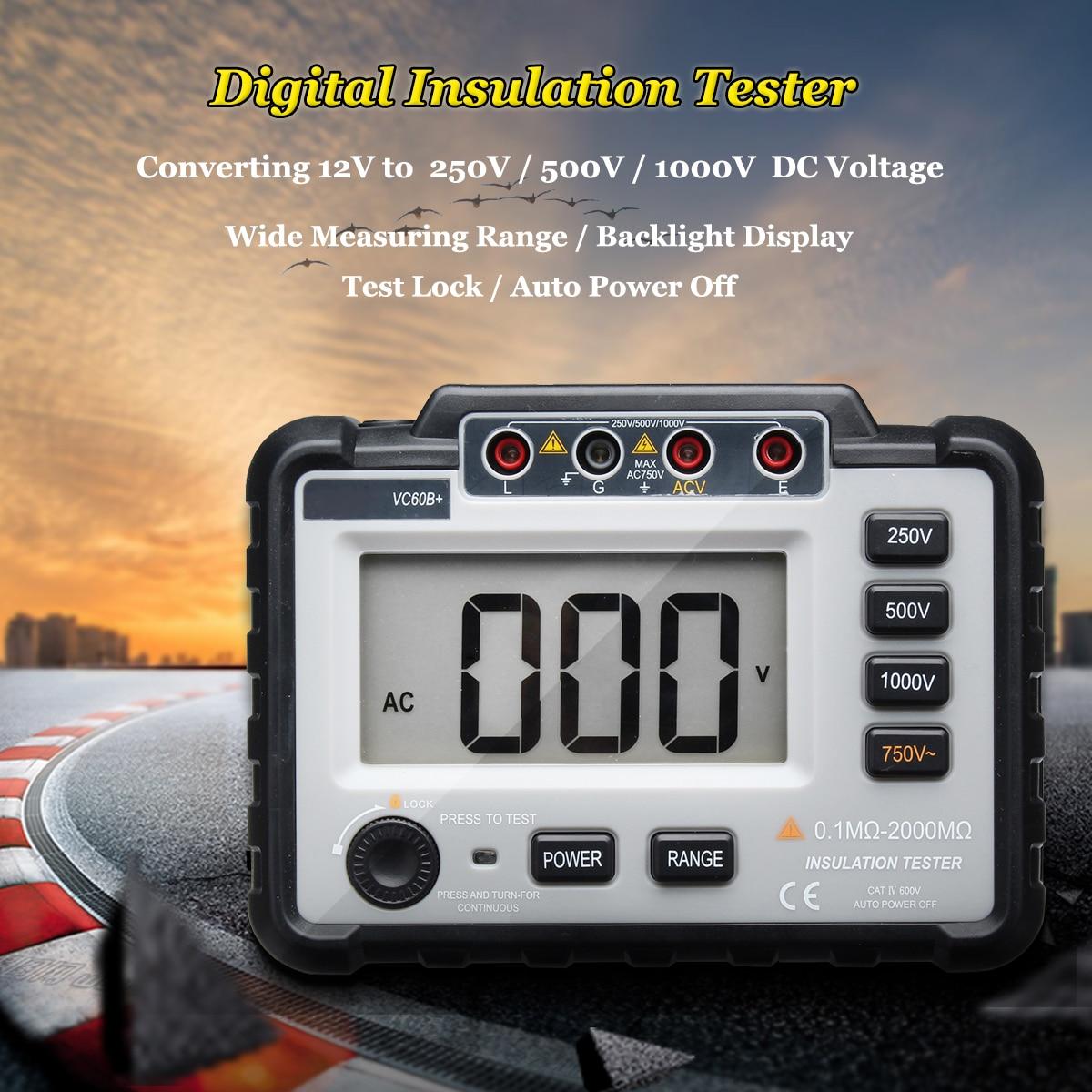 Jiguoor Digital Insulation Resistance Tester Megger MegOhm Meter 250/500/1000V DC Lightweight Wide Range LCD Backlight VC60B+