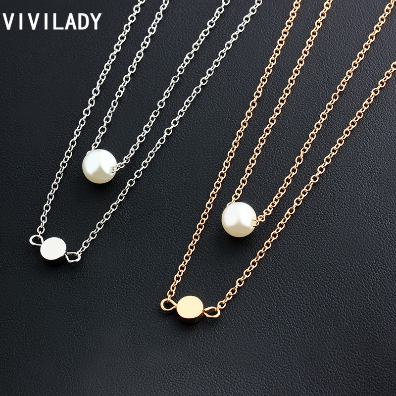 VIVILADY Hot Cute Imitation Pearl Circle Copper Alloy Charm Pendant Layers Chain Necklaces Women Summer Jewelry Bijoux Girl Gift