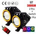 2PCS 125W Motorcycle Headlight 3000LMW Motorbike spotlight U5 U7 Cree LED chip Moto Driving car Fog Spot Head Light Lamp DRL