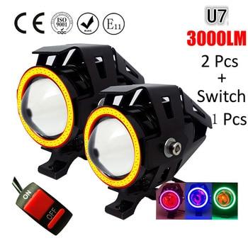 цена на Huiermeimi 2PCS 125W Motorcycle Headlight 3000LMW Motorbike spotlight U5 U7 LED Moto Driving car Fog Spot Head Light Lamp DRL
