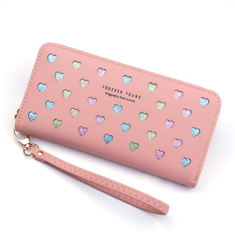 Leather Women's Wallet New Cute Love Color Hollow Large Capacity Purses Women Solid Color Purses Long Love Zipper Female Wallet