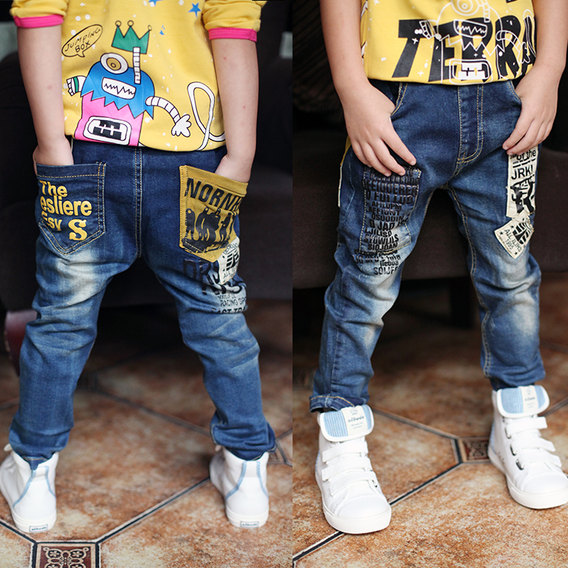 Newest Spring and Autumn Children's trousers,Kids baby Letter stitching Pants boy's Casual Jeans jeans boy for 2 to 14 years children s clothing male child jeans trousers spring autumn child jeans big boy letter print jeans trousers casual pants 4 14y