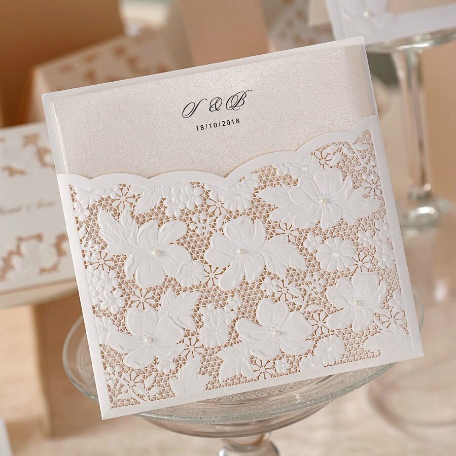 Laser Cut Lace Wedding Invitations Card With Envelope Anniversary Party Pocket Invitation Cards 100PCS Express Shipping