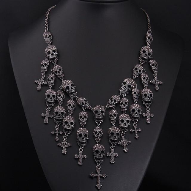 Новые Великолепная Ожерелье Скелет череп Крест Ювелирных кристаллов Департамент Себе Женщины Колье Колье Подвески