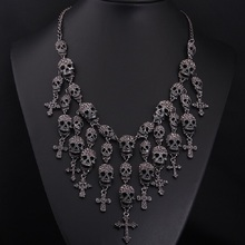 Lo nuevo Magnífico Collar de Moda Esqueleto cráneo Cruz de cristal de La Joyería Departamento Declaración Mujeres Gargantilla Collares Colgantes